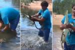 لا تفكر بتجربة ما تراه في الفيديو.. صيد تمساح بيدين عاريتين